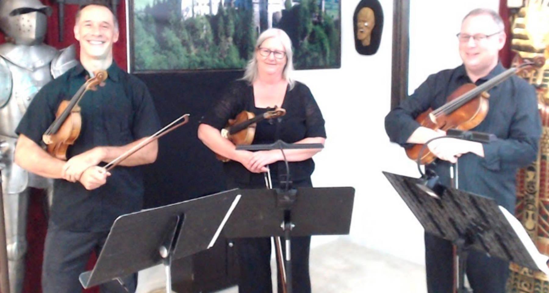 "World Premiere of Emma Lou Diemer's string trio ""Happy Days"""